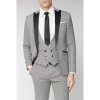 Limehaus Black Puppytooth Checked Skinny Fit Mens Suit Jacket 46R Black