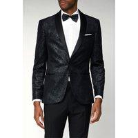 Limehaus Black Printed Velvet Slim Fit Jacket 38R Black