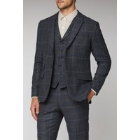 Racing Green Blue Heritage Check Tailored Fit Jacket 46R Blue