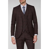 Burgundy Check Super Slim Fit Brit Jacket 46R Burgundy