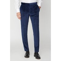 Limehaus Bright Blue Velvet Slim Fit Trousers 30R Bright Blue