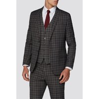 Limehaus Heritage Grey Burgundy Overcheck Suit Jacket 42R Grey