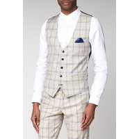 Marc Darcy Buxton Cream Check Slim Fit Waistcoat 42R Cream