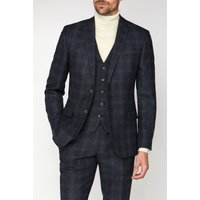 Racing Green Navy Check Heritage Tweed Jacket 44R Navy