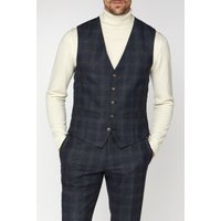 Racing Green Navy Check Heritage Tweed Waistcoat 44R Navy