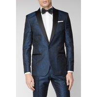 Limehaus Blue Tonal Paisley Suit Jacket 38R Blue