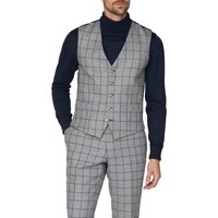 Racing Green Grey Windowpane Heritage Tweed Waistcoat 46R Grey