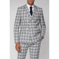 Limehaus Grey Check Double Breasted Slim Fit Jacket 42S Grey