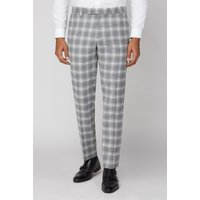 Limehaus Grey Check Slim Fit Trouser 32L Grey