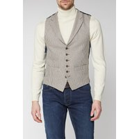 Racing Green Heritage Micro Check Tailored Waistcoat 52R Brown