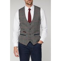 Marc Darcy Edward Navy Grey Tweed Check Waistcoat 40R Grey