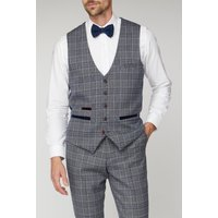 Marc Darcy Enzo Blue Grey Check Tweed Waistcoat 46R Blue