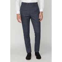 Marc Darcy Jenson Navy Check Suit Trousers 38R Navy