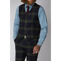 Gibson London Green Black and Red Tartan Waistcoat 38R GREEN