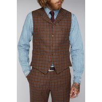 Gibson London Tan Teal and Orange Check Waistcoat 48R Tan