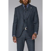Gibson London Grey Black  Teal Graph Check Tweed Jacket 44R Grey