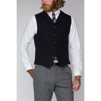Gibson London Navy and Black Mini Check Waistcoat 38R Navy