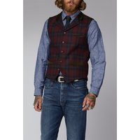 Gibson London Red and Green Tartan Waistcoat 42R RED