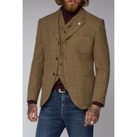 Gibson London Gold  Taupe Herringbone Jacket 44R GOLD