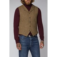 Gibson London Gold  Taupe Herringbone Waistcoat 40R GOLD