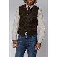 Gibson London Brown Dogtooth with Red Check Waistcoat 38R Brown