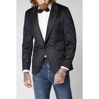 Gibson London Black Velvet Jacquard Jacket 40R Black