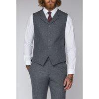Grey Tweed Slim Fit Tyburn Waistcoat 40R Gunmetal