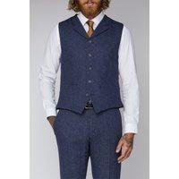 Blue Tweed Slim Fit Tyburn Waistcoat 40R Blue