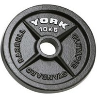 Image of York 10kg Hammertone Cast Iron Olympic Plate