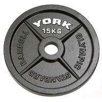 Image of York 15kg Hammertone Cast Iron Olympic Plate