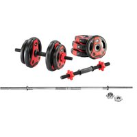 adidas Essential 50kg Barbell and Dumbbell Weight Set