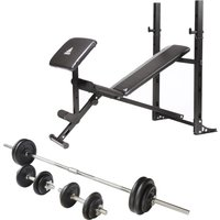 Adidas Essential Pro Multi Purpose Bench With 50kg Cast Iron Weight Set