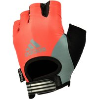 adidas Half Finger Ladies Fitness Gloves - Orange/Silver/Black, M