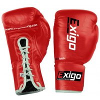 Exigo Boxing Pro Fight Leather Contest Gloves - Red, 8oz