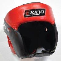 Image of Exigo Boxing Pro Open Face Head Guard - Blue/Black, L/XL