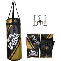 Image of Lonsdale Club Junior Punch Bag and Glove Set - Black/Gold