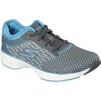 Skechers Go Walk Sport Lace up Ladies Walking Shoes - Grey/Blue, 6 UK