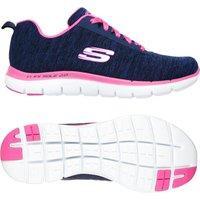 Skechers Sport Flex Appeal 2.0 Ladies Athletic Shoes - Navy/Pink, 4.5 UK