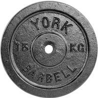 Image of York 15kg Black Cast Iron 1Inch Plate