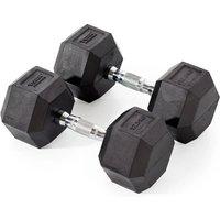 Image of York Fitness 2 x 12.5kg Rubber Hex Dumbbells