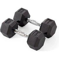Image of York Fitness 2 x 7.5kg Rubber Hex Dumbbells