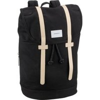 Sandqvist Laptoprucksack Stig Large Backpack Black with Tan (18 Liter)