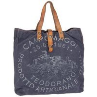 Campomaggi Handtasche Lambro Canvas Bag Small Blu/Naturale