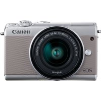 Canon EOS M100 Mirrorless Digital Camera with EF-M 15-45mm camera Kit with Kingston 16GB min. 80MB/s  SD Memory Card - Grey