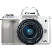 Canon EOS M50 Mirrorless Digital Camera with EF-M 15-45mm camera Kit with LP-E12 battery - White (International Ver.)