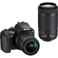 Nikon D3500 Twin kit with AF-P 18-55mm VR and AF-P DX 70-300mm VR Lens Digital SLR Cameras - Black