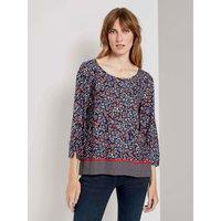 TOM TAILOR 3/4-Arm Bluse mit Blumenprint, Damen, navy flower design, Größe: 34