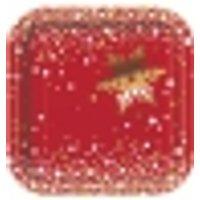 8 Platos de cartón Navidad rojo