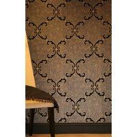 Kandola Wallpaper Trellis Scroll Flocked Wallpaper crystallised W1508/02/215