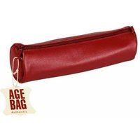 Clairefontaine Age Bag Round Leather Pencil Case, 21x6 cm - Red